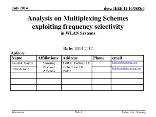 Analysis on Multiplexing Schemes exploiting frequency selectivity  in WLAN Systems