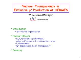 Nuclear Transparency in  Exclusive  r 0  Production at HERMES