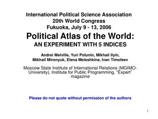 International Political Science Association 20th World Congress  Fukuoka, July 9 - 13, 2006