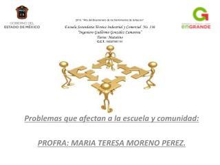 Problemas que afectan a la escuela y comunidad : PROFRA: MARIA  TERESA MORENO PEREZ.