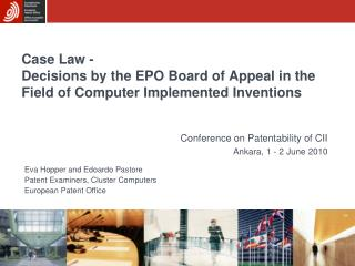 Case Law -  Decisions by the EPO Board of Appeal in the Field of Computer Implemented Inventions