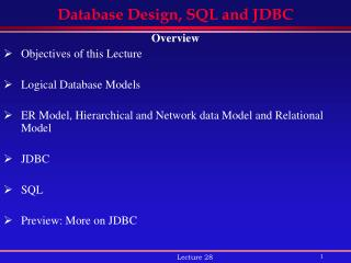 Database Design, SQL and JDBC