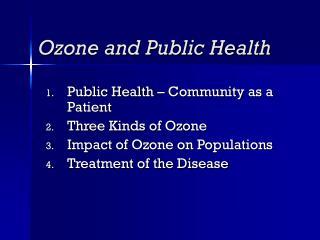 Ozone and Public Health