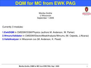 DQM for MC from EWK PAG