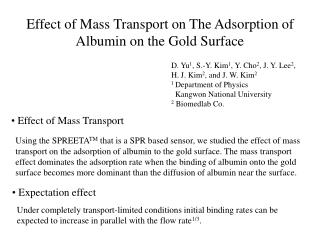 Effect of Mass Transport on The Adsorption of Albumin on the Gold Surface