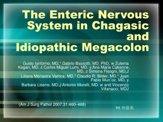 The Enteric Nervous System in Chagasic and