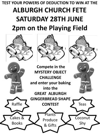 TEST YOUR POWERS OF DEDUCTION TO WIN AT THE ALBURGH CHURCH FETE SATURDAY 28TH JUNE