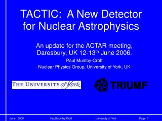 TACTIC:  A New Detector for Nuclear Astrophysics