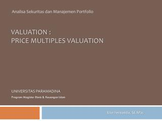 VALUATION : PRICE MULTIPLES VALUATION