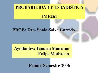 PROBABILIDAD Y ESTADISTICA IME261