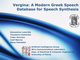 Vergina: A Modern Greek Speech Database for Speech Synthesis