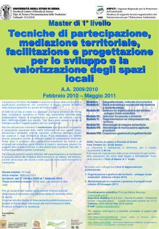 UNIVERSITÀ DEGLI STUDI DI SIENA Facoltà di Lettere e Filosofia di Arezzo