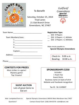 To Benefit    Saturday, October  25, 2014   Triad Lanes   21 Oak Branch Drive