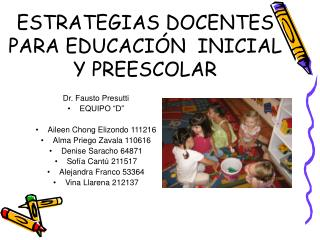 ESTRATEGIAS DOCENTES  PARA EDUCACI N  INICIAL Y PREESCOLAR