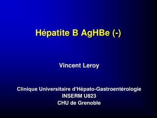H patite B AgHBe -