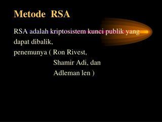 Metode  RSA