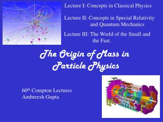The Origin of Mass in  Particle Physics