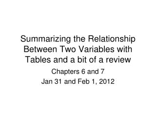 Summarizing the Relationship Between Two Variables with Tables and a bit of a review