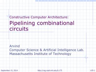 Constructive Computer Architecture: Pipelining combinational circuits Arvind