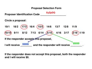 Proposal Selection Form Proposer Identification Code __________________ Circle a proposal: