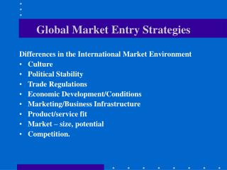 Global Market Entry Strategies