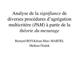 Bernard ROY&Jean-Marc MARTEL Meltem Öztürk