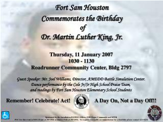 Fort Sam Houston Commemorates the Birthday  of Dr. Martin Luther King, Jr.