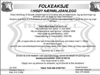 FOLKEAKSJE I HISØY NÆRMILJØANLEGG