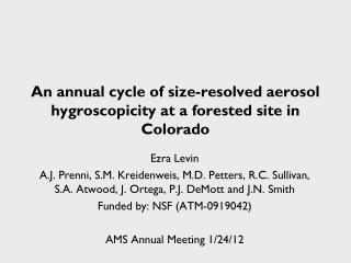 An annual cycle of size-resolved aerosol hygroscopicity at a forested site in Colorado