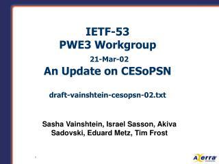 IETF-53 PWE3 Workgroup 21-Mar-02 An Update on CESoPSN  draft-vainshtein-cesopsn-02.txt