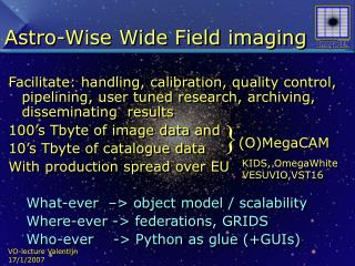Astro-Wise Wide Field imaging