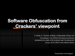 Software Obfuscation from Crackers' viewpoint