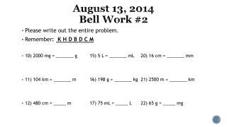 August 13, 2014  Bell Work #2
