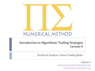 Introduction to Algorithmic Trading Strategies Lecture 6