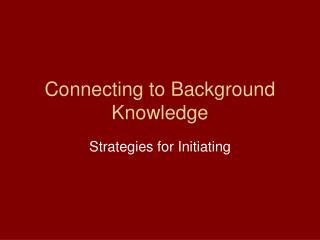 Connecting to Background Knowledge