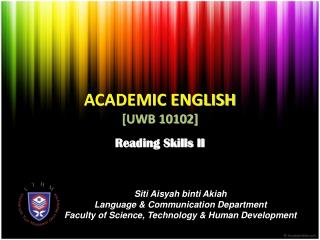 ACADEMIC ENGLISH [UWB 10102]