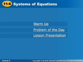 11-6 Systems of Equations