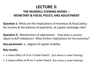LECTURE 3:  THE MUNDELL-FLEMING MODEL -- MONETARY & FISCAL POLICY, AND ADJUSTMENT