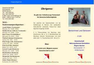 Gewerkschaft NGG Dennewartstr. 17 52068 Aachen Tel.:  0241/946740 Fax.: 0241/9467467