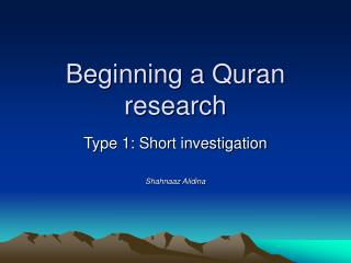 Beginning a Quran research