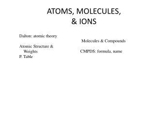 ATOMS, MOLECULES, & IONS