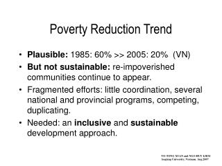 Poverty Reduction Trend