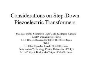 Considerations on  Step-Down  Piezoelectric  Transformers