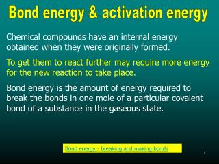 Bond energy & activation energy
