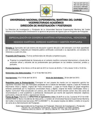 UNIVERSIDAD NACIONAL EXPERIMENTAL MARÍTIMA DEL CARIBE VICERRECTORADO ACADÉMICO