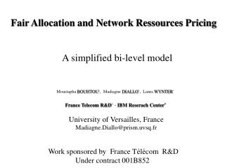 Fair Allocation and Network Ressources Pricing