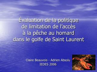 Claire Beauvois - Adrien Absolu IEDES 2006