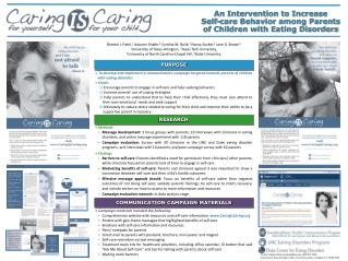 An Intervention to Increase  Self-care Behavior among Parents  of Children with Eating Disorders