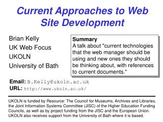 Current Approaches to Web Site Development