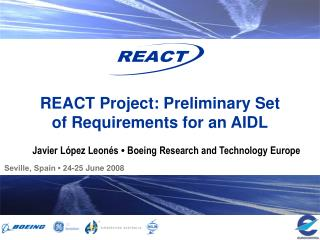 REACT Project: Preliminary Set of Requirements for an AIDL